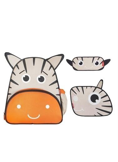 Zoozy Zebra Çanta Seti (Sırt Çanta-Beslenme Çantası-Kalemlik) Renkli
